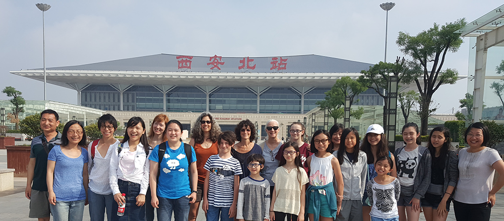 Our group before boarding the high-speed rails at the Xi'An train station, China.