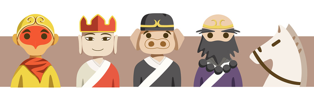 Left to right: Monkey King, Tang Seng, Pigsy, Sandy, White Horse