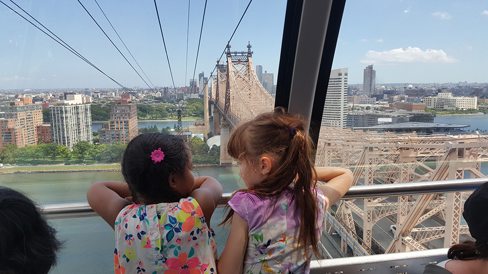 On the Roosevelt Island Tramway crossing the East River.