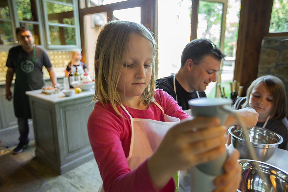 girl boy and dad making gelato