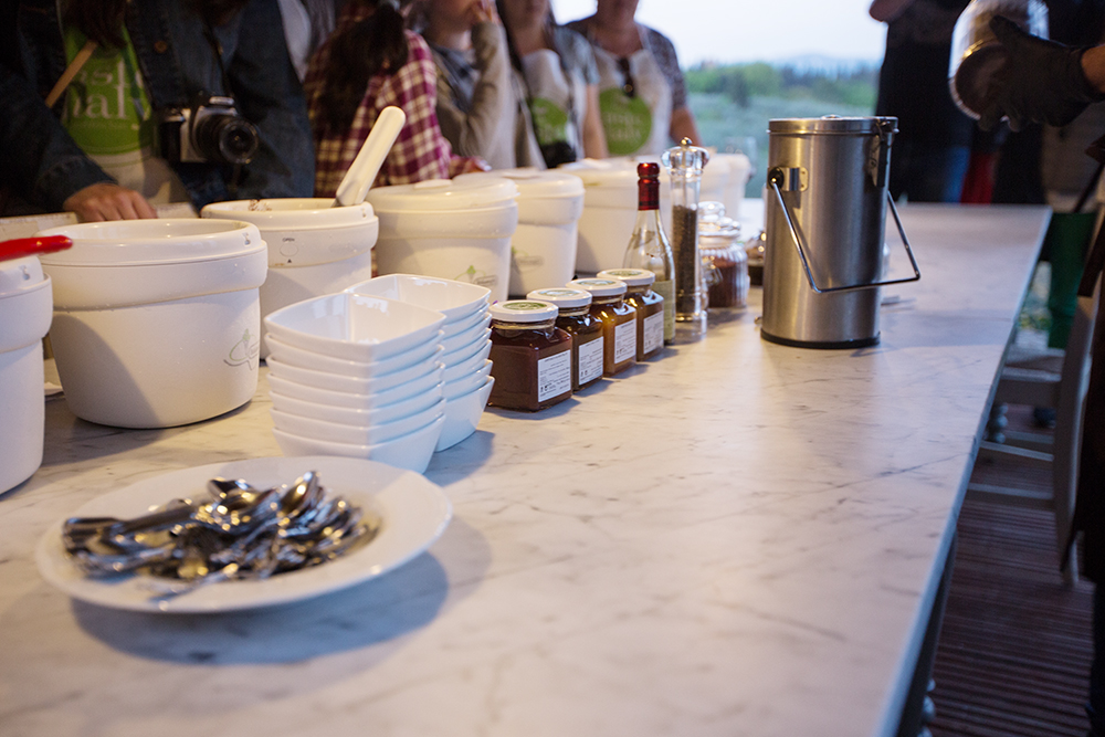 gelato sundae bar outdoor table