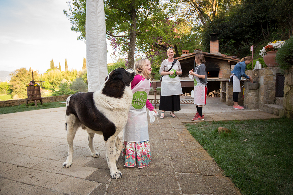 girl with big dog