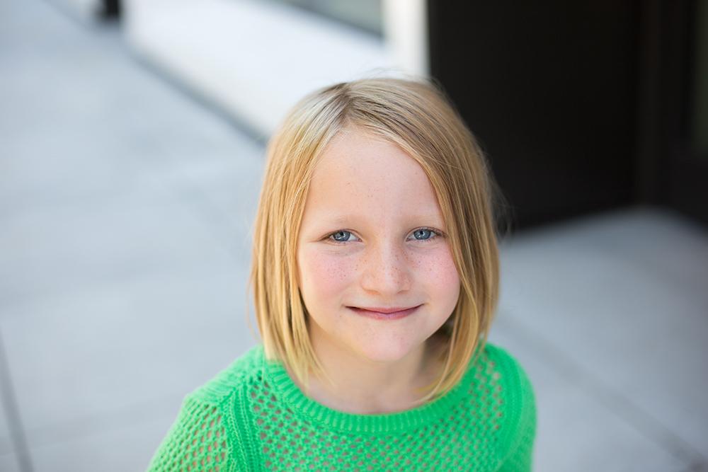 girl in green sweater