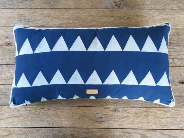 Japanese indigo handblock pillow