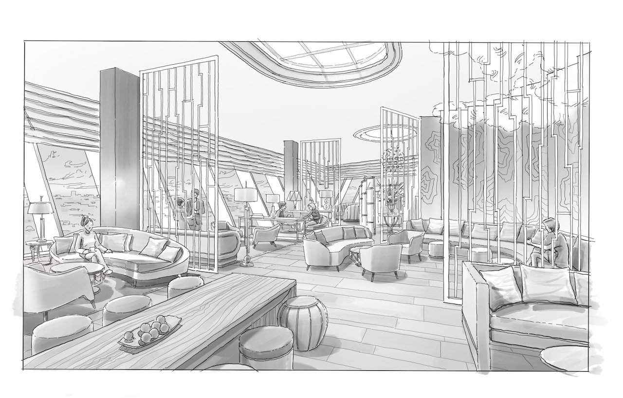 Concept sketch of a rooftop club overlooking Dubai
