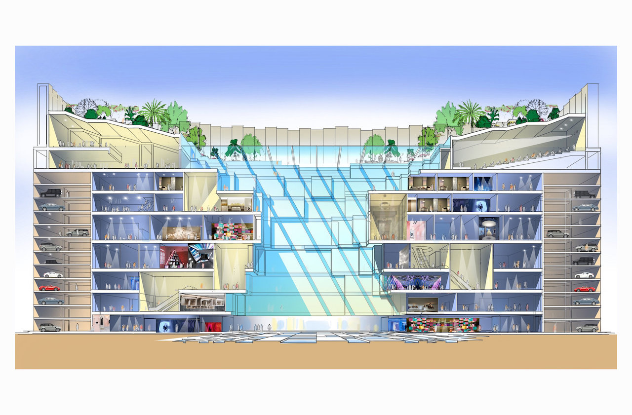 Concept section through proposed vertical mall