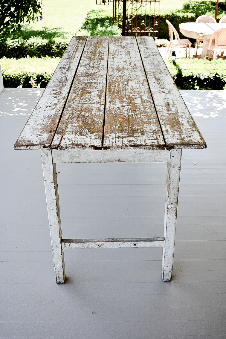 Vintage Farm Table with White Finish