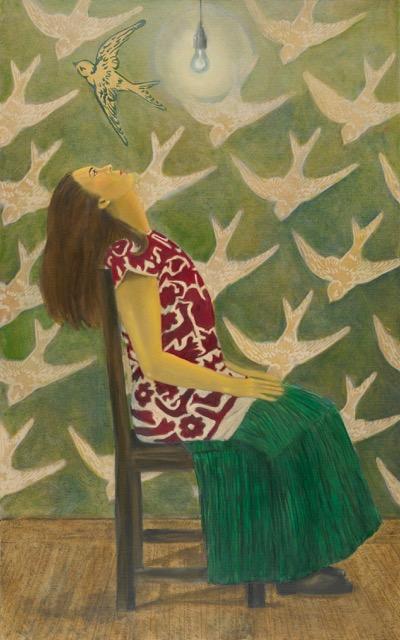 "The Seated Quixote (La Quixota Sentada), oil on canvas, acrylic and mixed media, 30"" x 48"""