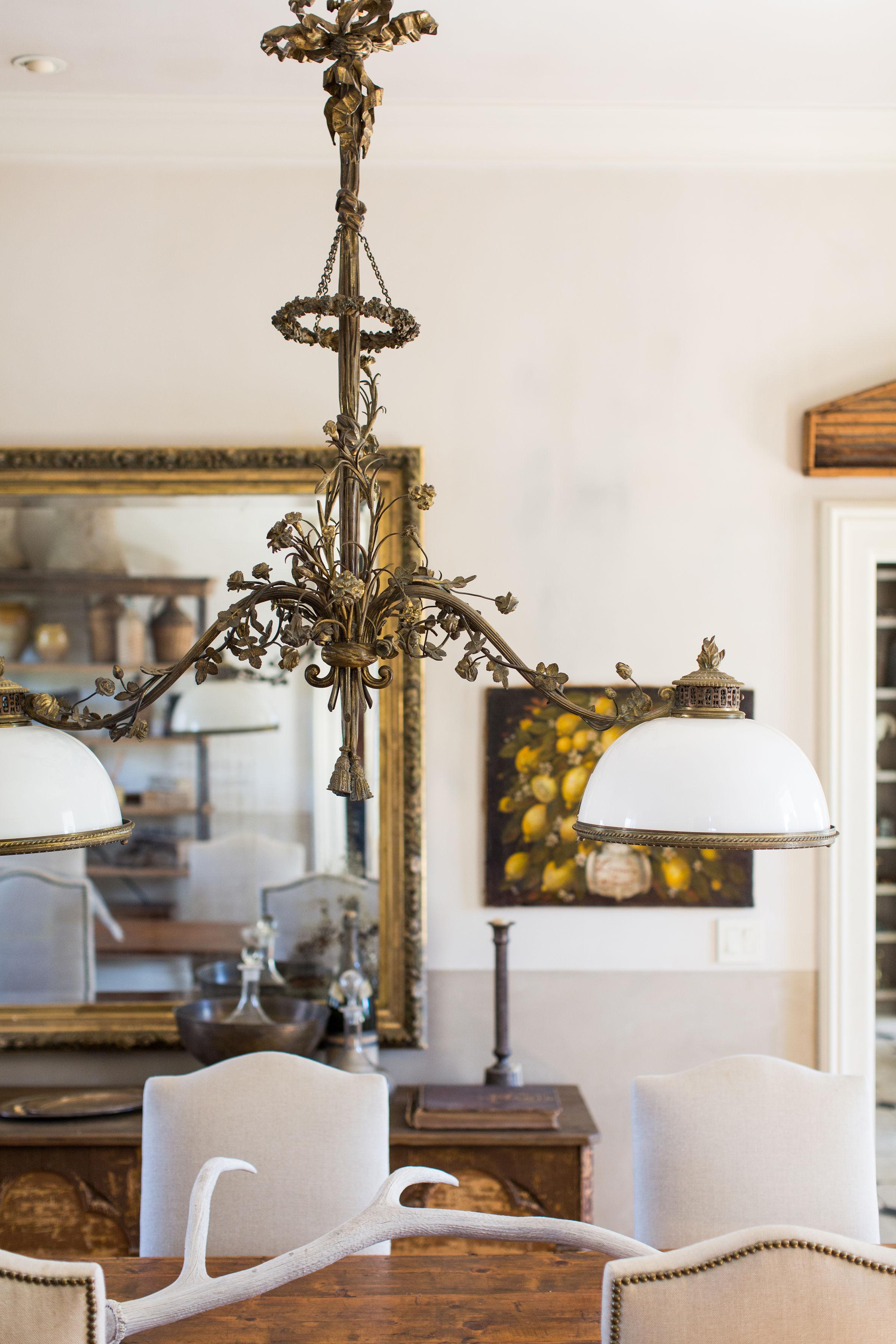 French vintage chandelier and objet d'art