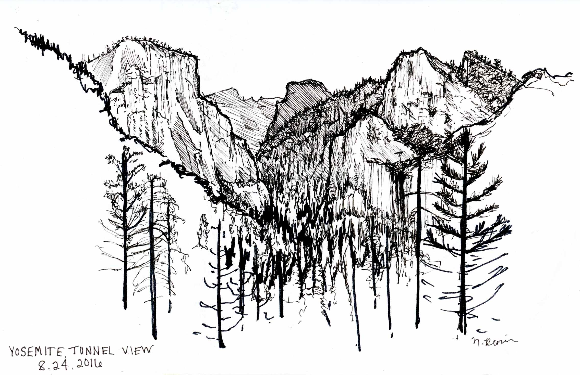 Yosemite Tunnel View Sketch at Sunrise
