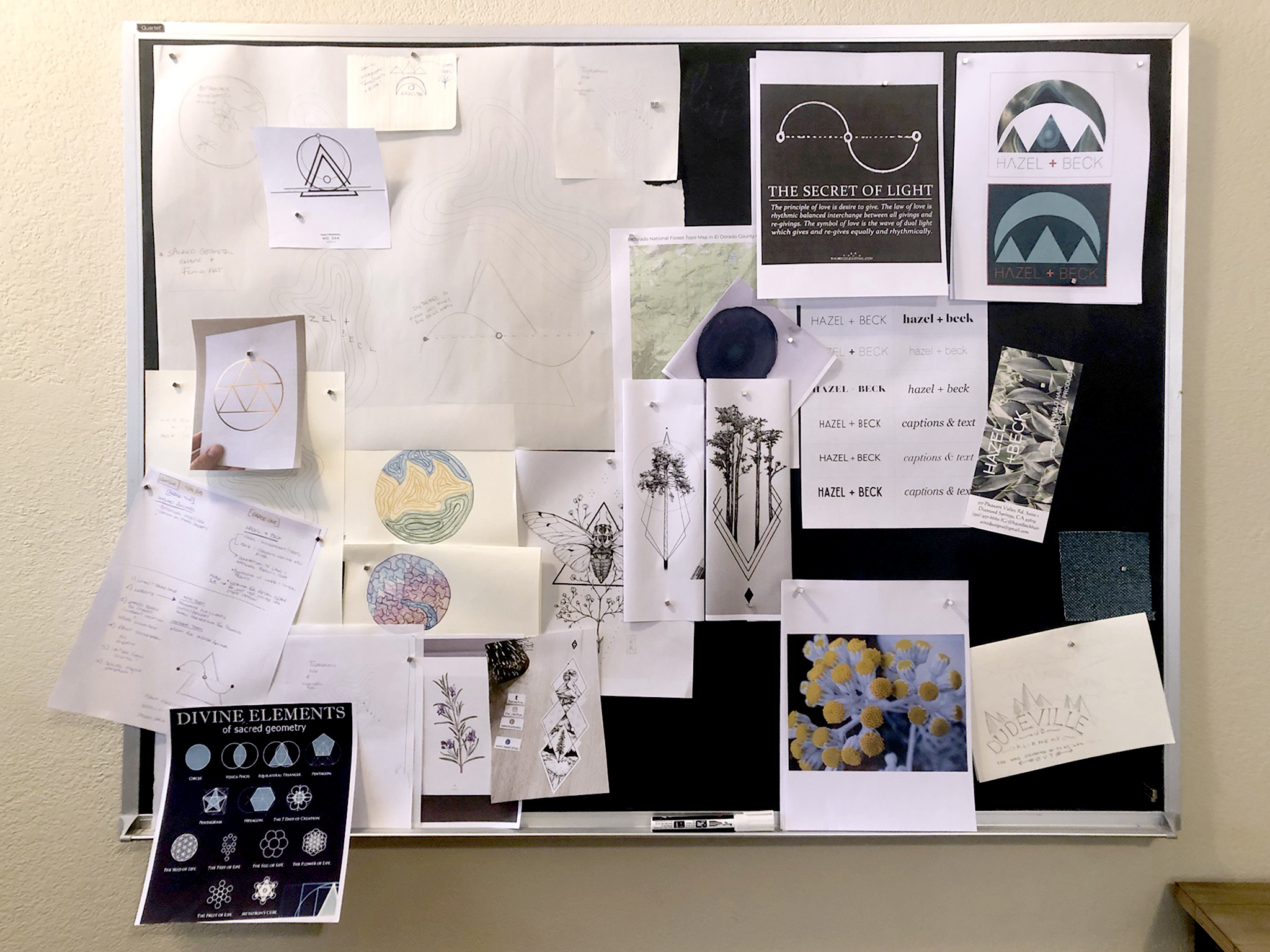 Photograph of our in studio pinboard when we were working on the logo designs for Hazel + Beck. Thank you to the users of Pinterest for the beautiful inspiration and for sharing their art with the world.