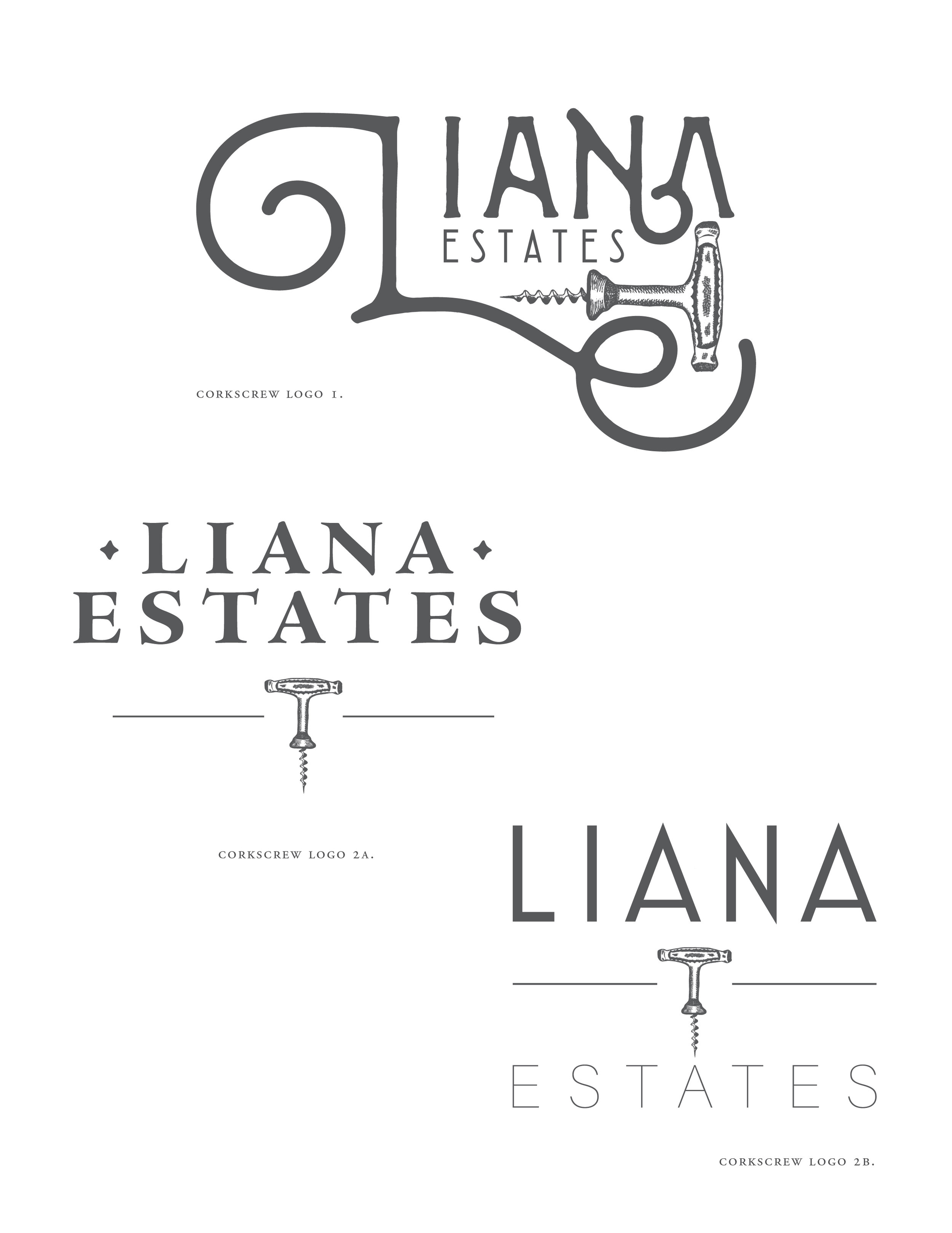 Logo Concepts   Presentation of different logo options with the corkscrew graphic incorporating elements and styles the client was drawn to in the Pinterest / inspiration board part of the process. ˙