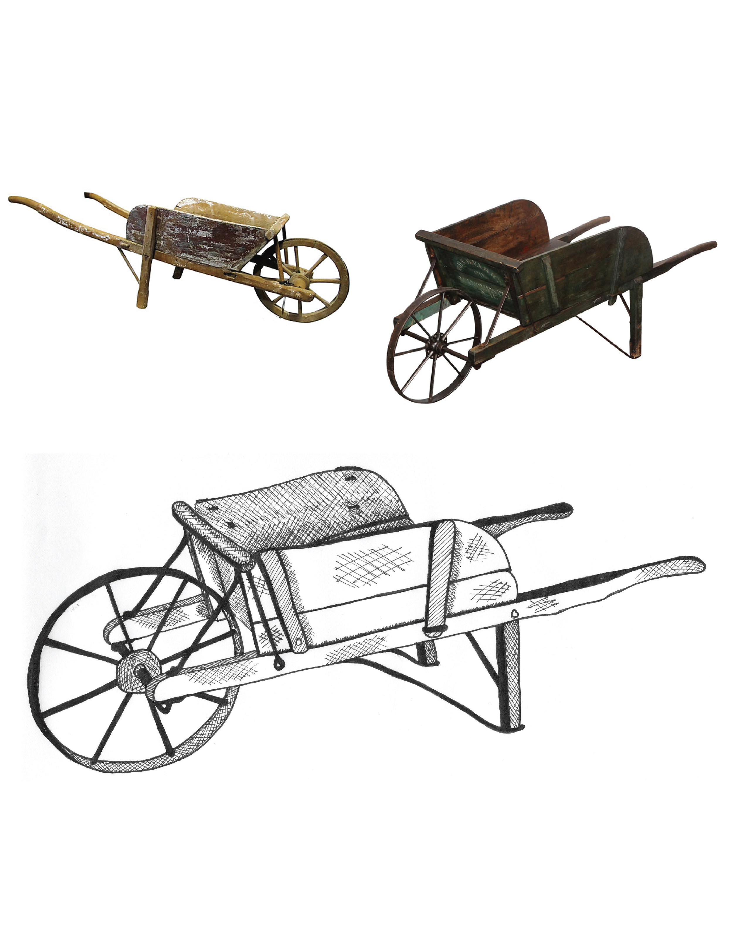 Antique Wheelbarrows   These photos of antique wheelbarrows really resonated with the client. The rendering shown here plays off of antique elements from both and lends itself to a variety of applications both within primary logos as well as other design motifs across the brand.  ˙