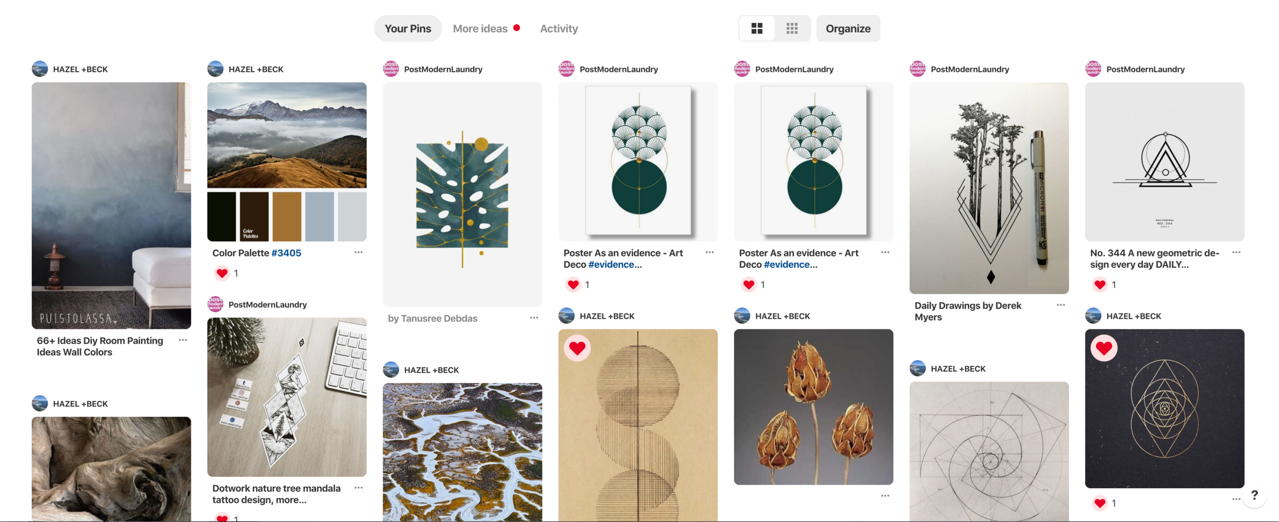 Screenshot of our collaborative Pinterest board for inspiration and development of common design language.