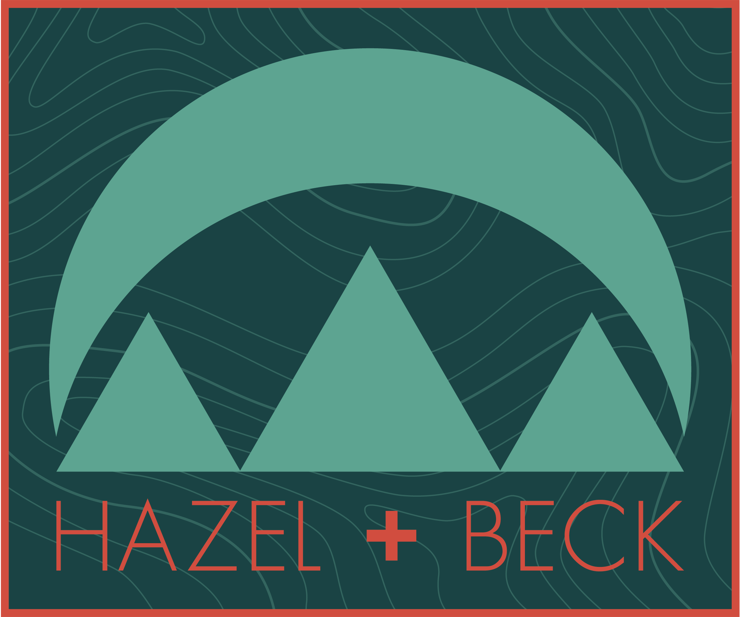 ALTERNATIVE / SECONDARY LOGO   From the first round of client presentations:  Echoing the topographic patterning in the primary logo above, the stylized topographic pattern of the background of this version provides visual interest, association with the mountains and outdoors, ties to primary logo, and enables the client the flexibility for any reproduction process or medium they may encounter.    This design can be further simplified to simply the geometric icons with or without the logotype. The flexibility of this design addresses all needs for today's range of output needs for the small business owner. The stylized topographic pattern can be utilized as a motif for a number of applications across the board.