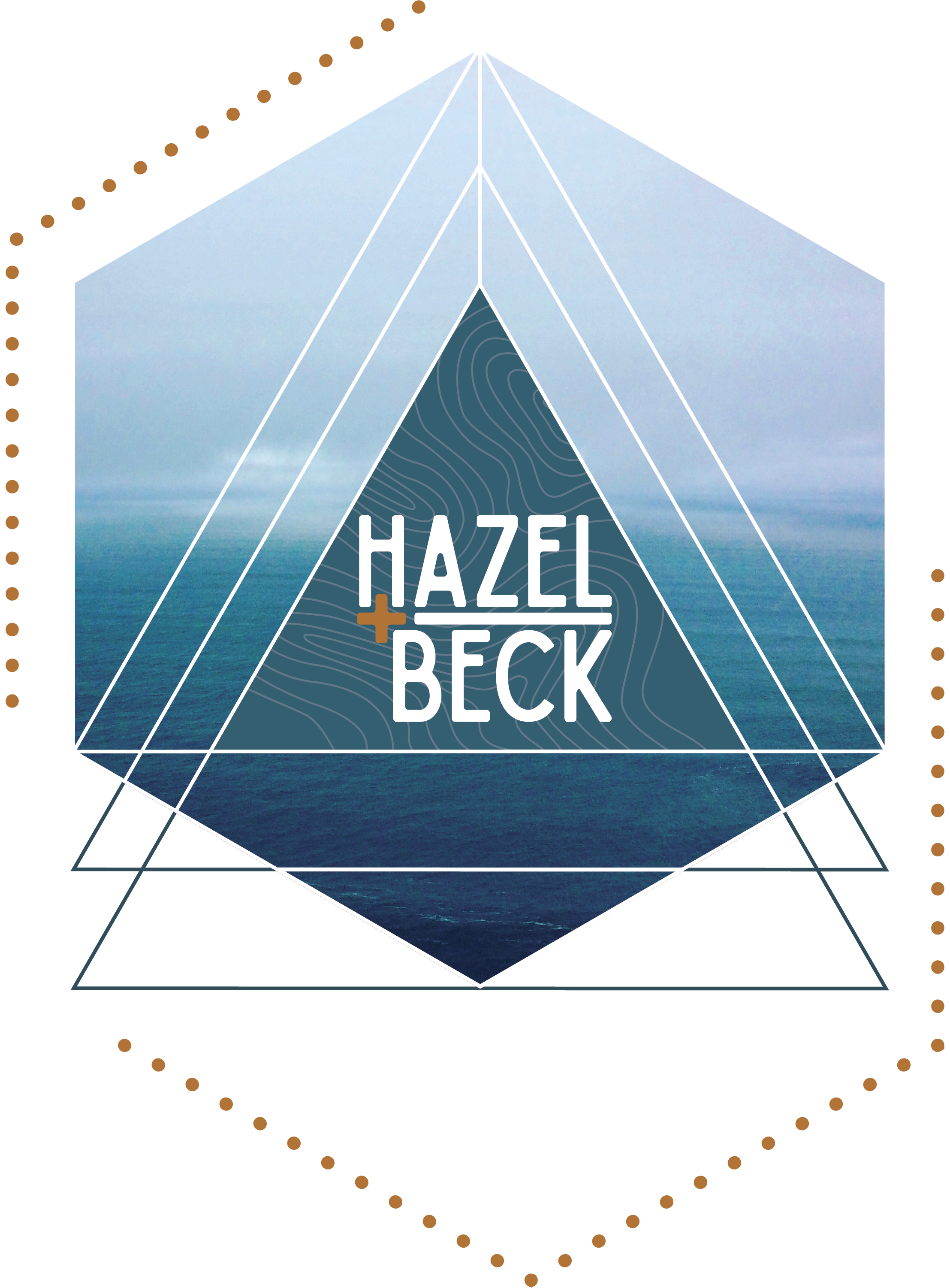 MAIN LOGO   From the first round of client presentations:   This concept incorporates the stylized topographic motif with geometric shapes invoking concepts of sacred geometry in a stylized way. The placement of the triangles gives nod to the mountains as well as the trees the grow in them. The image of the water meeting the horizon is both iconic as well as anonymous, paying homage to the element of water. While a complex design, the elements of each component are strong and simple which creates an icon logo for a lasting impression.    The stylized and deconstructed hexagon creates a border as well as warmth with the contrasting goldenrod color.