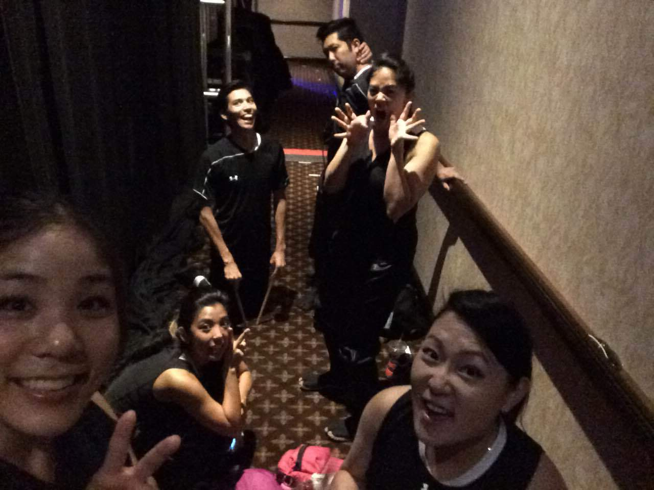 The cast backstage. What's a normal photo?