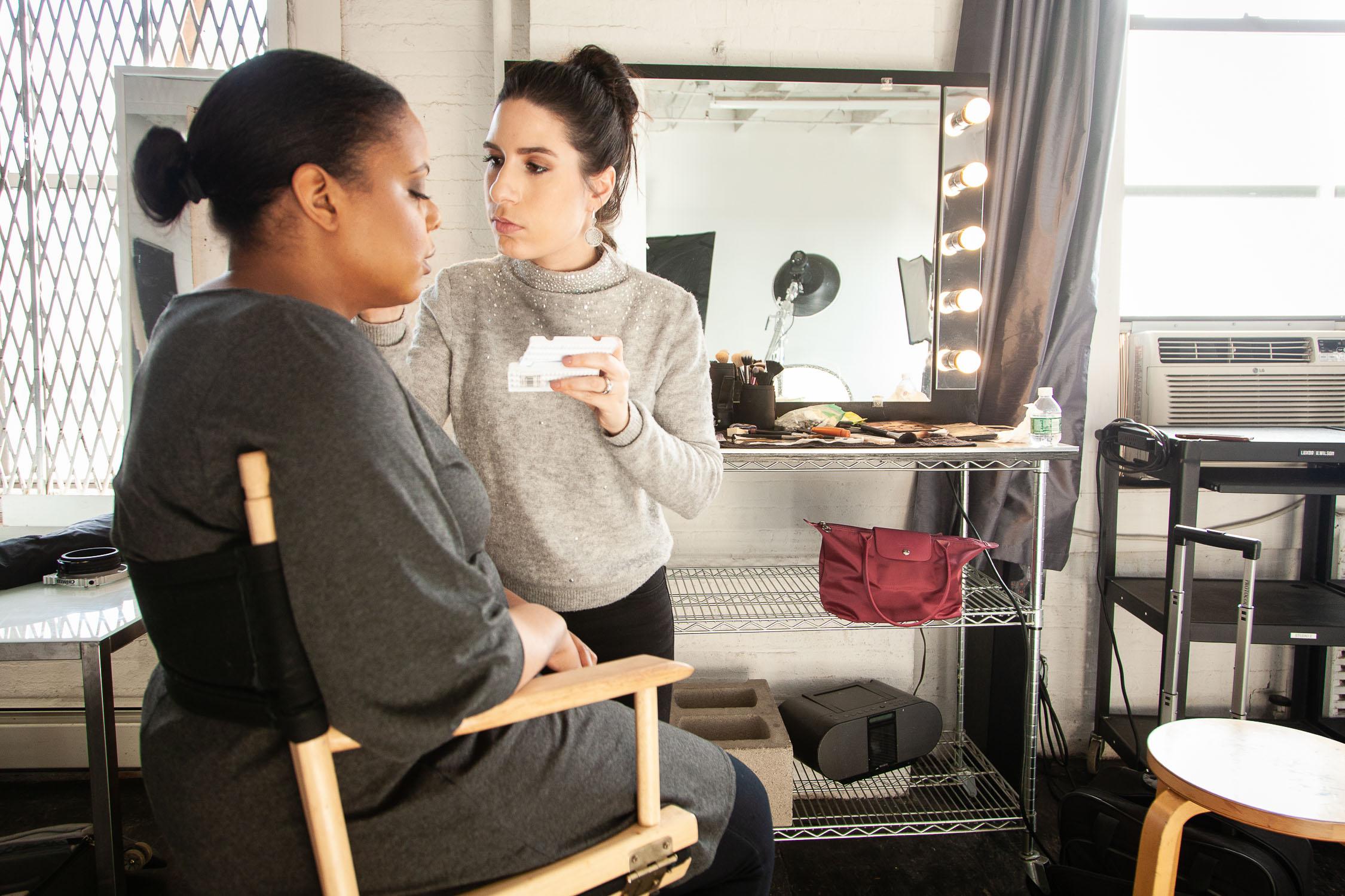 One of my top headshot makeup artists, Jennifer Margaret, applying makeup to a recent client.