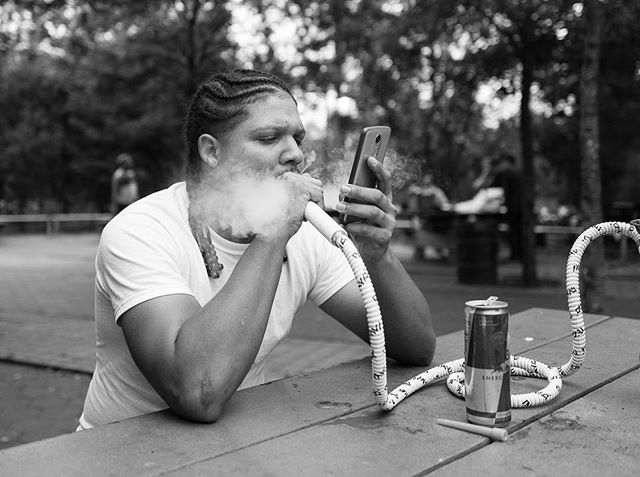 Inwood, 2017.  Nothing like a Leica to photograph strangers. People welcome you and aren't frightened by a small, elegant camera. #leicaq #inwood #hookah #streetphotography