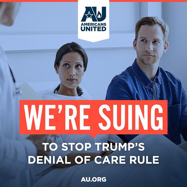 We're suing the Trump administration to stop the #DenialofCare rule. Why? Because the rule is so broad that any healthcare worker – doctors, surgeons, nurses, receptionists, orderlies – can deny care to patients, based on personal religious objections. #Putpatientsfirst