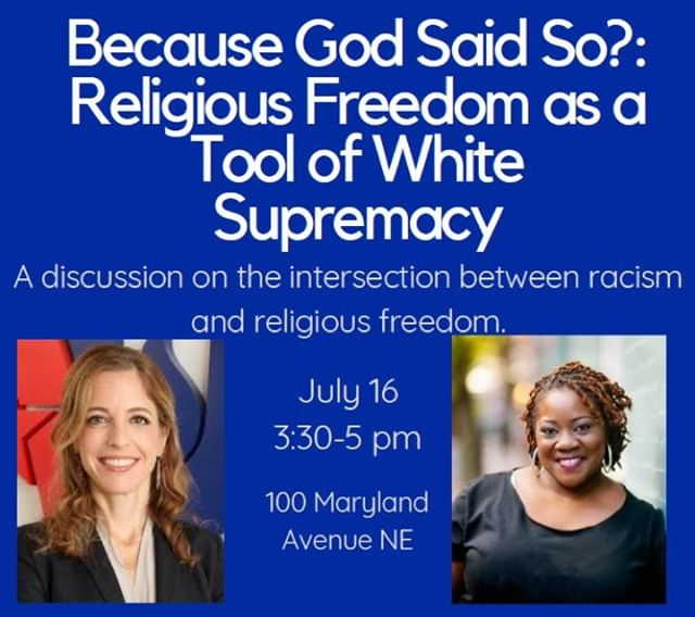 Because God Said So?  TOMORROW join AU CEO @Rachellaser & @TheTaskForce's Rev. Naomi Washington-Leapheart for a discussion on the intersection of racism and religious freedom. Check the flyer for details on this FREE event!  RSVP today! secure.everyaction.com/1VKKusm5MEmUc4…