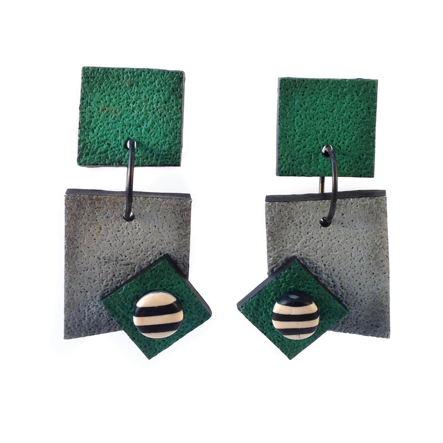 Signature Earrings - Green/Grey  $85