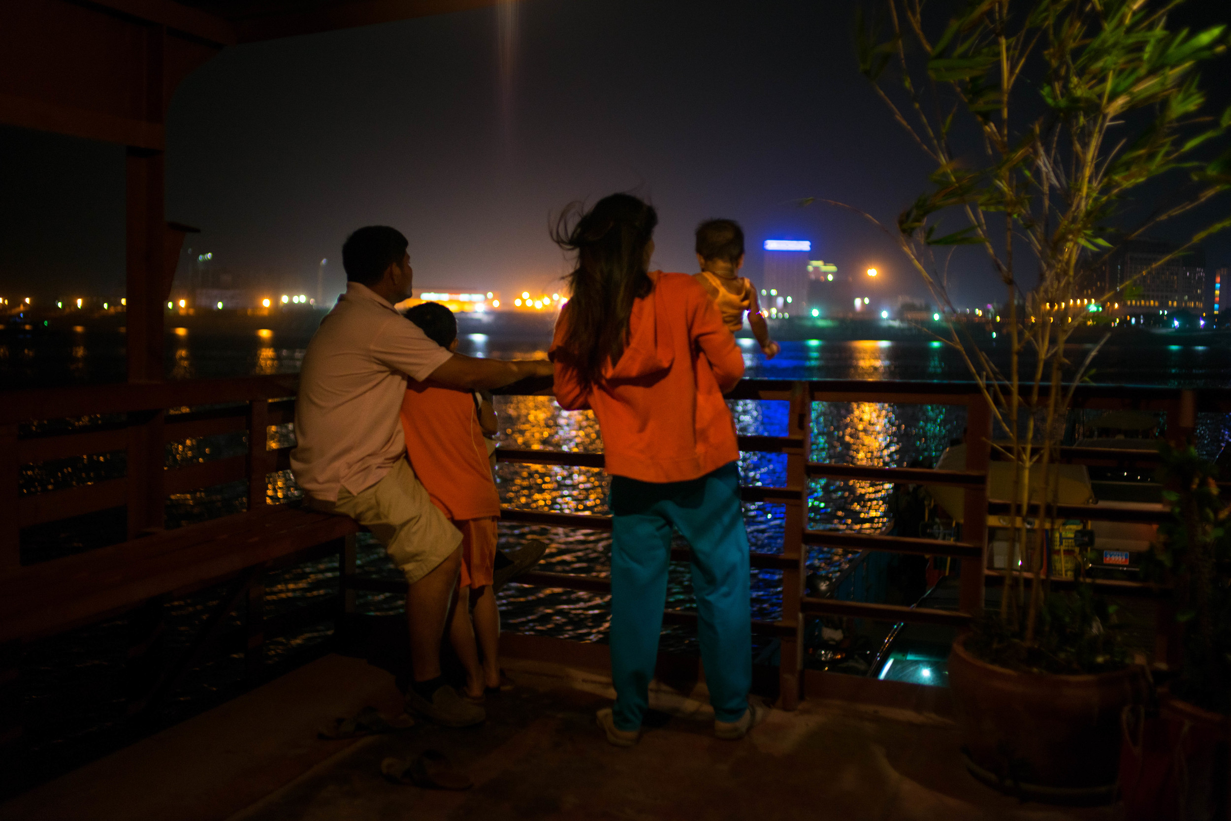 Evening view of Phnom Penh from ferry