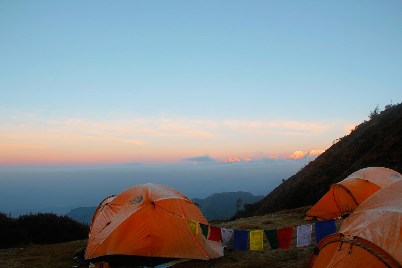 Nepal.EastNepal.Dobate.Sunrise.Clouds.Tents.PrayerFlags.Frost.Himalayas1.jpg