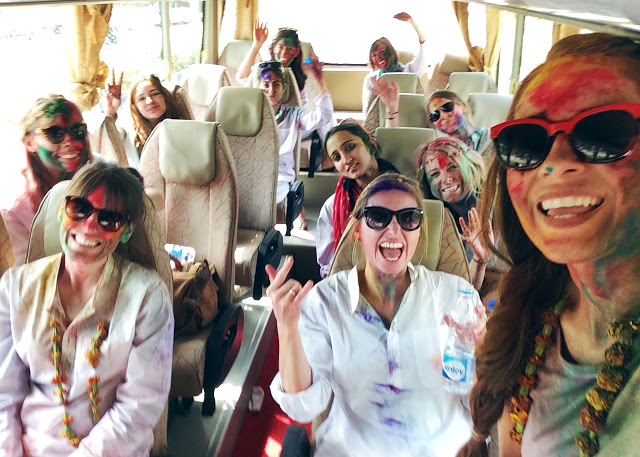 ohdeardrea india bus rides group selfie holi.jpg