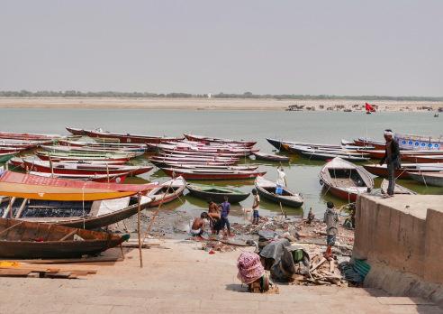 India Varanasi Boats and Bathing.jpg