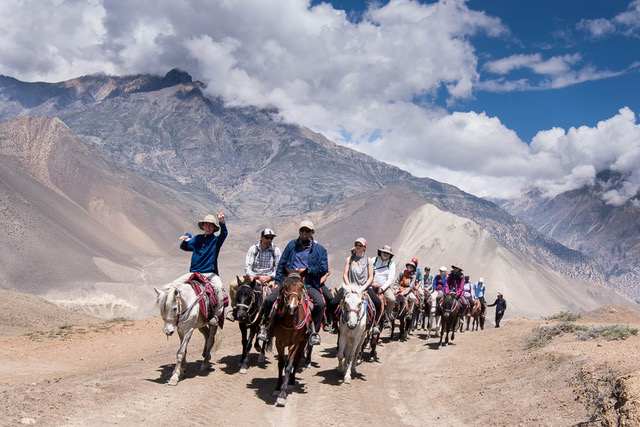 Once into Mustang, the group made use of all available modes of transportation, accessing the region on horseback, in jeeps, and on foot.