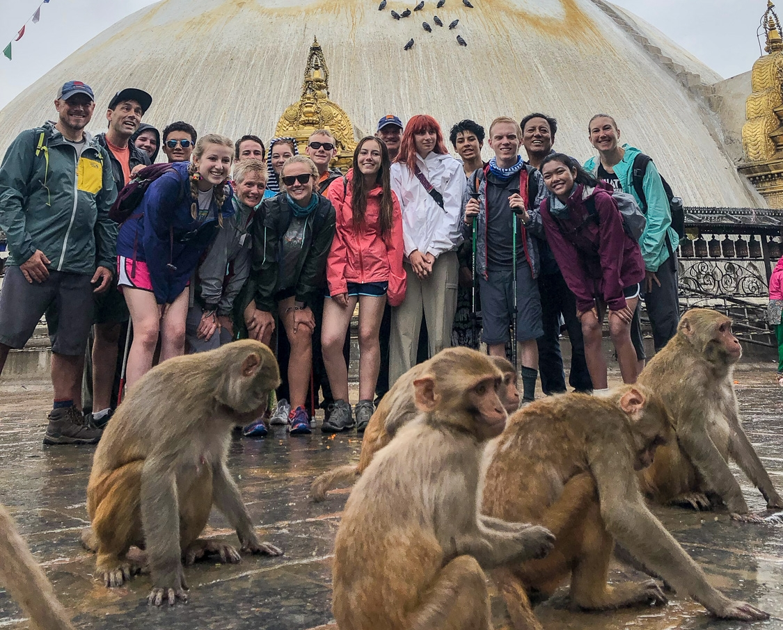 Off the trail & back in Kathmandu, they explored the city and spent a morning at Swayambhunath, the Monkey Temple.