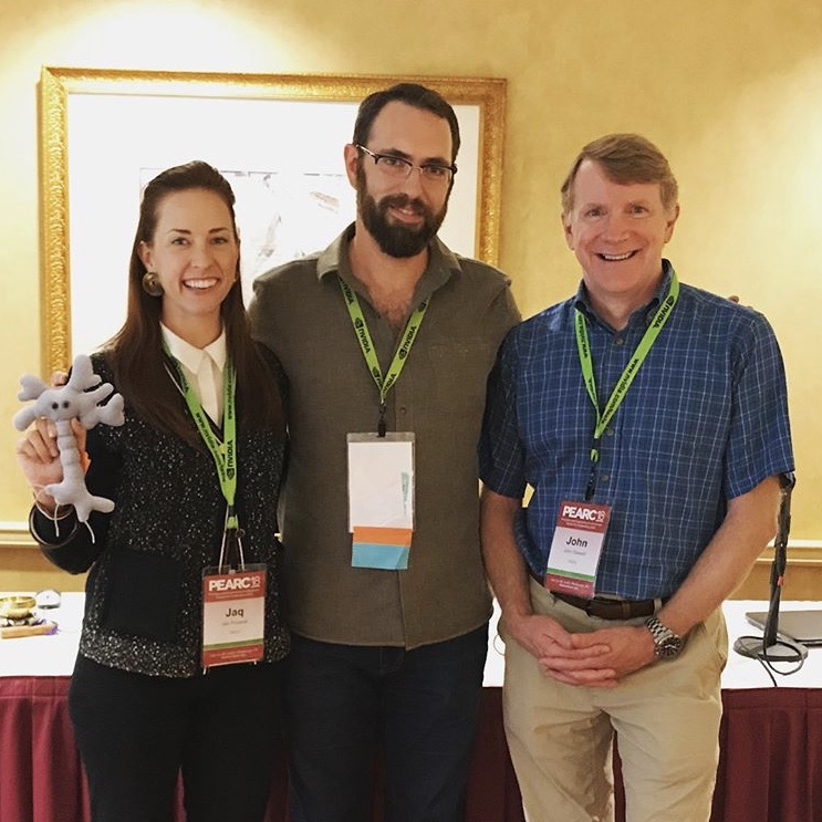 From Left: Jaq Poussot, Aaron Culich, & John Steward at  PEARC 2018