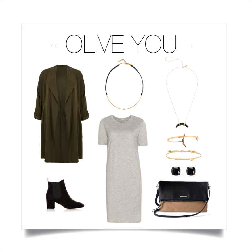 Shift into a darker shade of olive and don't be shy to mix it with grey. Combine olive with gold and black accents to complete your look.   Stella & Dot: Necklaces - Mia Collar &  Arc Pendant Necklace ,Bracelets -  Celestial Cuff  &  Wishing Bracelet Protective Eye ,Earrings -  Luxe Stud Pack , Bag -  Waverly Petite ,Jacket - River Island, T-shirt Dress - Acne, Boots - Express