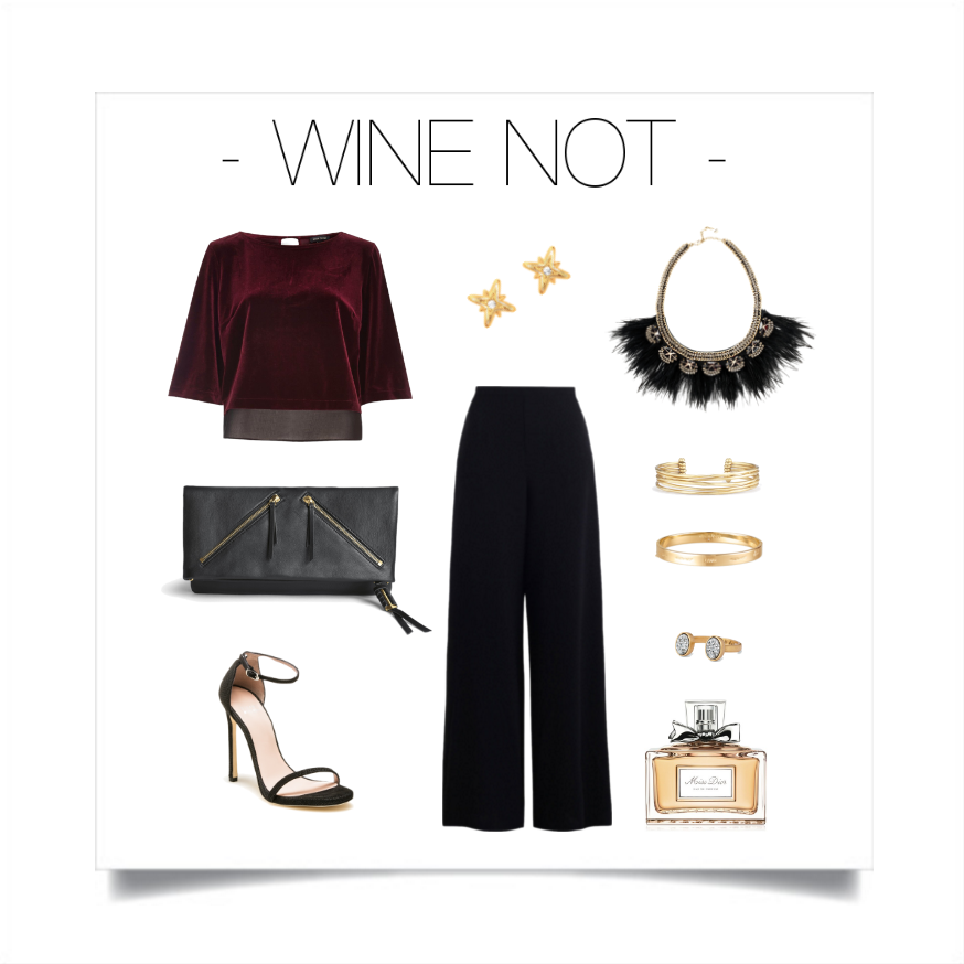Red continues to be a highly influential fashion color in the form of this vibrant shade of wine. Incorporate black and gold tones for the perfect pairing.   Stella & Dot: Necklace -  Harper Feather,  Earrings -  Moon & Stars Stud Pack , Clutch -  The Covet Waverly , Bracelets -  Quinn Cuff  &  Inspiration Bangle , Ring -  Relic ,Top - River Island, Trousers - Zimmerman, Shoes - Stuart Weitzman