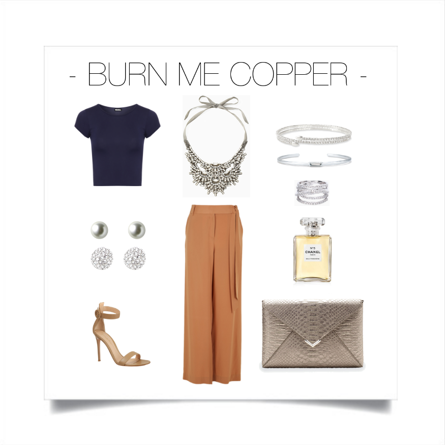 Copper tones are our favorite shade of brown. Pewter & silver accents convert this color trend into the deep rich look you're looking for.   Stella & Dot: Necklace -  Gala Statement Necklace , Earrings -  Luxe Stud Pack ,Bracelets -  Radiance Coil  &  Camille Cuff ,Ring -  Stellar Pave , Clutch -  City Slim Pewter ,Top - Wear All,Pants - Tibi, Shoes - Gianvito Rossi