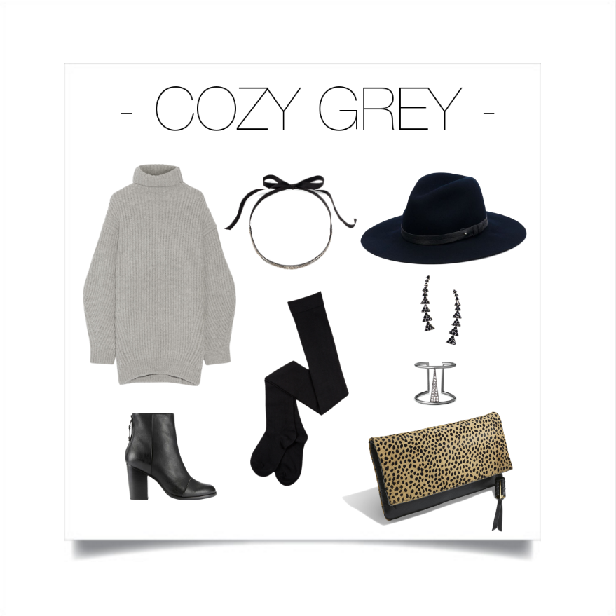 Grey will forever be a fall staple. Convert this cozy look into a chic one by mixing it with black & dark prints.   Stella & Dot: Necklace -  Emme Necklace ,Earrings -  Pave Triangle Ear Climber ,Ring -  Seine Ring ,Clutch - The Covet Crosby ,Sweater - Acne, Shoes & Hat - Rag & Bone