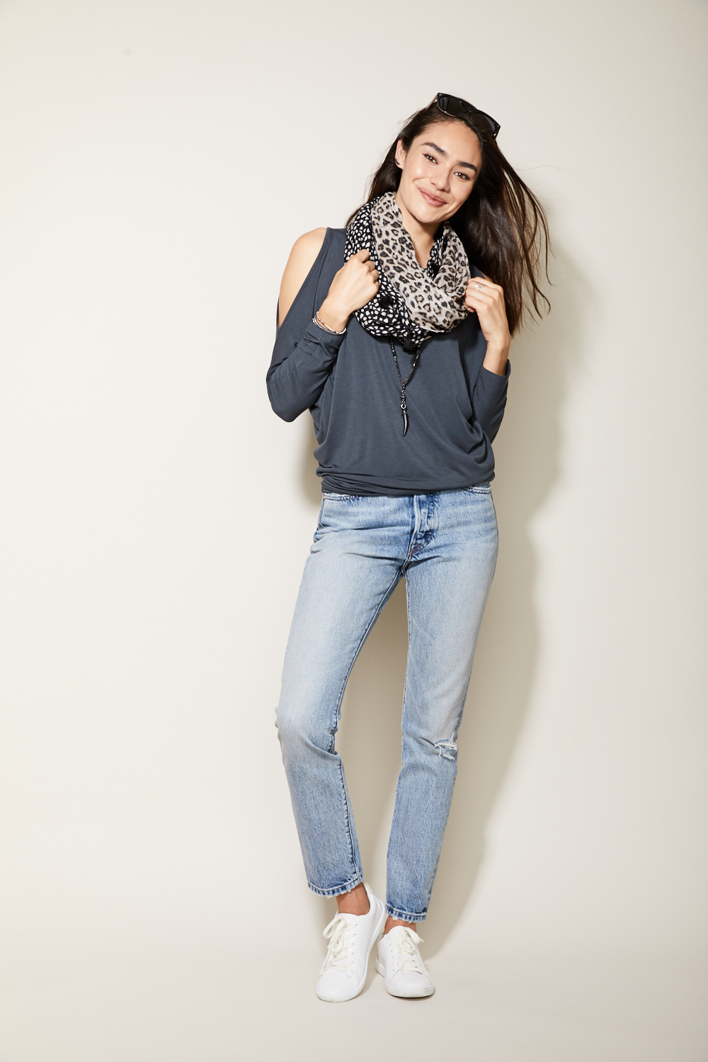 3.The Relaxed Boyfriend - This is one staple that everyone needs! The relaxed boyfriend jean is a no-brainer because it combines casual and classic. Roll up the bottoms and pair them with our favorite Mia Knit top and sneakers for the weekend, or throw on a heel or ankle boot to go out with your girlfriends. These are sure to become one of those jeans that you will reach for again and again.