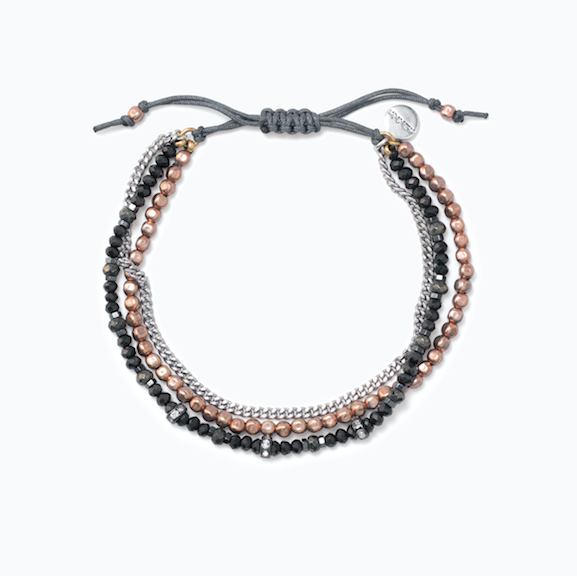 Fortitude Bracelet - Why choose just one metal to wear when you can mix them? Our delicate Fortitude Wishing Bracelet combines semi-precious pyrite and hematite beads with rose, silver and smoky tones. Pair it with your favorite rose gold and silver bracelets for the ultimate stack.