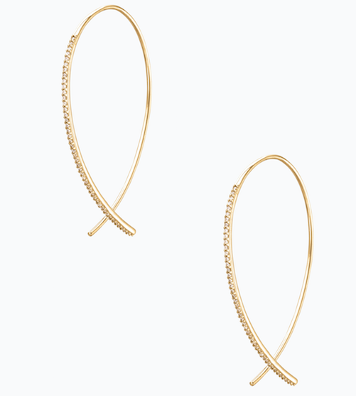 Pave Arc Earrings - Looking for a gift for the classic gal? Don't miss these earrings that are under $40! Plus, with the beautiful hand-set pave and light weight, they're the hoop that she'll never take off.