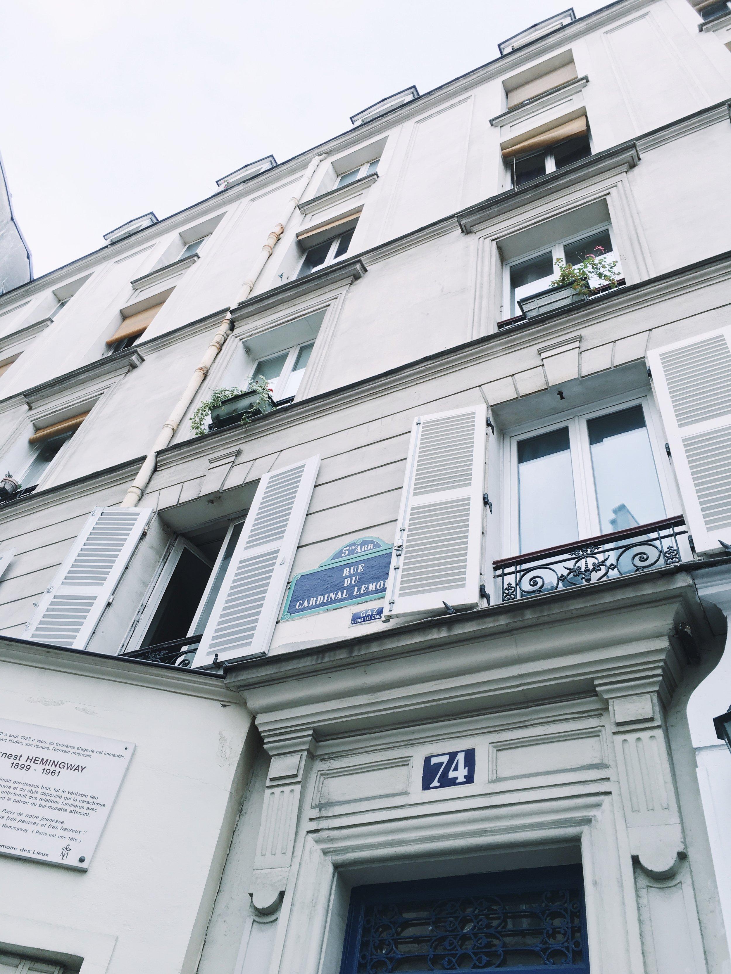 Ernest & Hadley's first Paris Apartment. OMG.