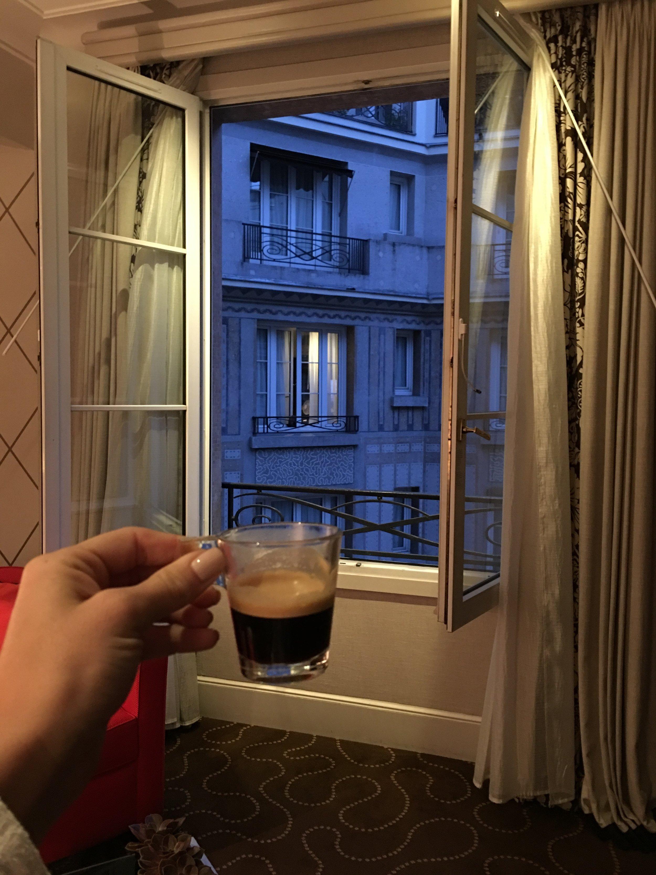 Espresso before the sunrise in our cute room