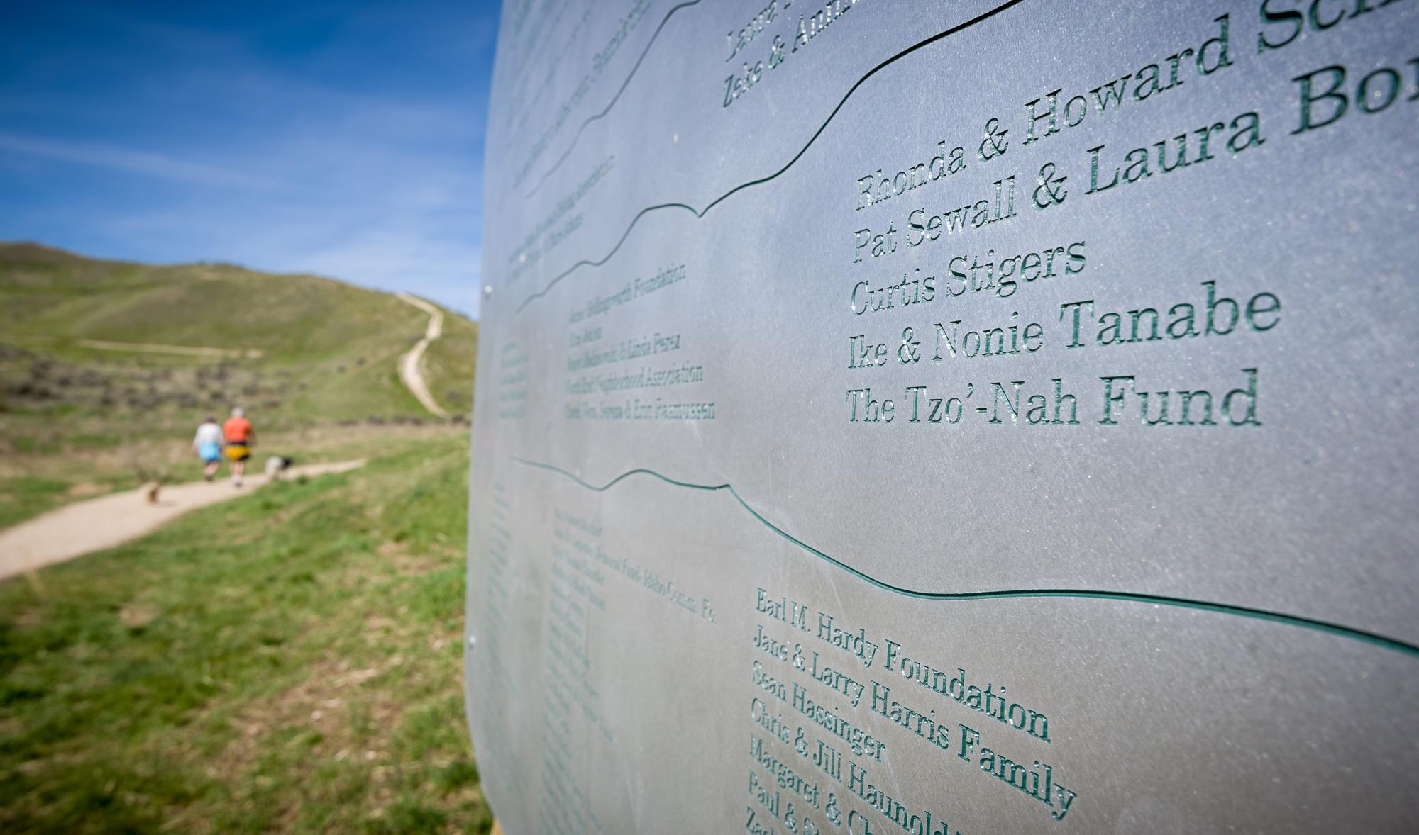 Tzo-nah fund contributed to the land trust of the treasure valley for the Harrison hollow nature area and hillside to hollow reserve