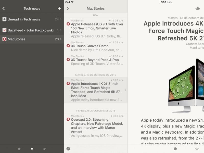 """Reeder en el iPad. Lo que me falta por leer en """"Tech news"""". Me cogió la noche con MacStories…"""
