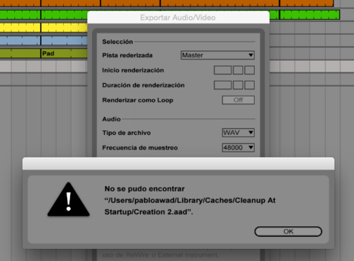 Error al exportar audio Ableton Live