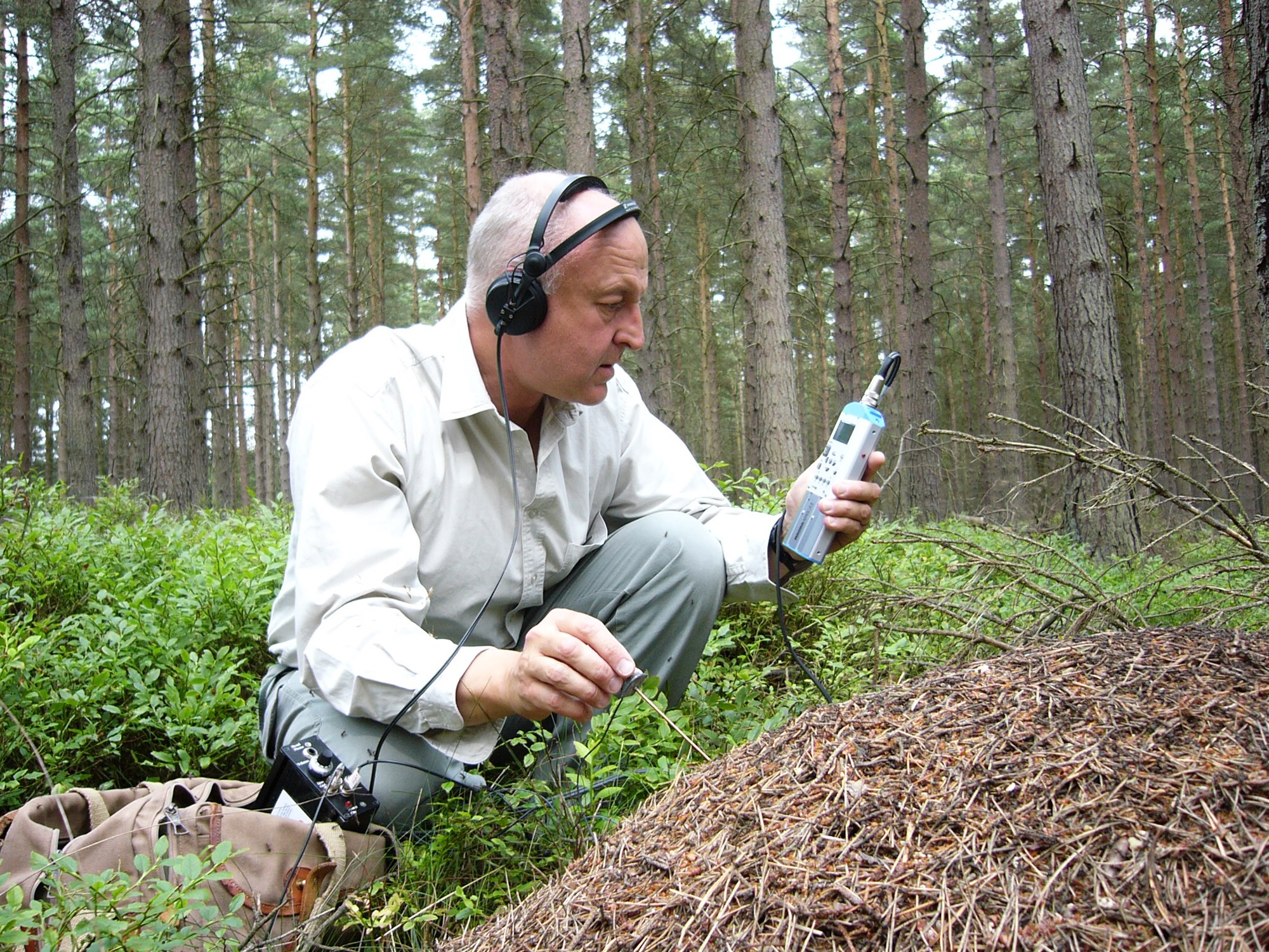 Chris Watson grabando ¿insectos? en un bosque.