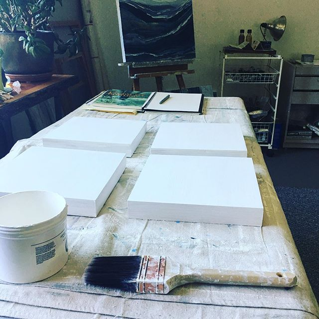 // GESSO DAY // Preparing four small 10x10 cradled birch panels for new studies.  Hopefully these small painting studies will lead to larger works.  #gesso #cradledbirchpanel #artdays #artstudies #artstudio #inthestudio #pnwartist #artist #artistworld #artistsoninstagram #contemporarypainting #contemporaryart #contemporaryartist #seattleartist #landscapeartist #oilonpanel #oilpaintings #doitfortheprocess #workinprogress #abstractart #abstractpainting #abstractlandscape #coastalart #creativelife #visualart #visualartist