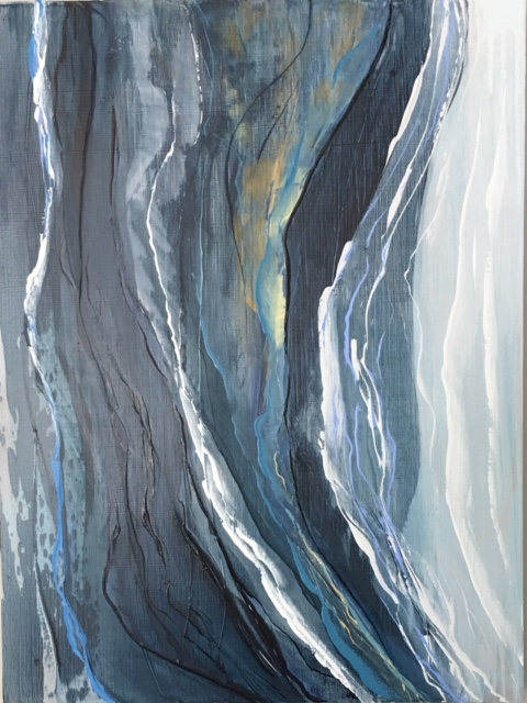 Waterfall II   18 x 24  Oil on Cradled Birch Panel