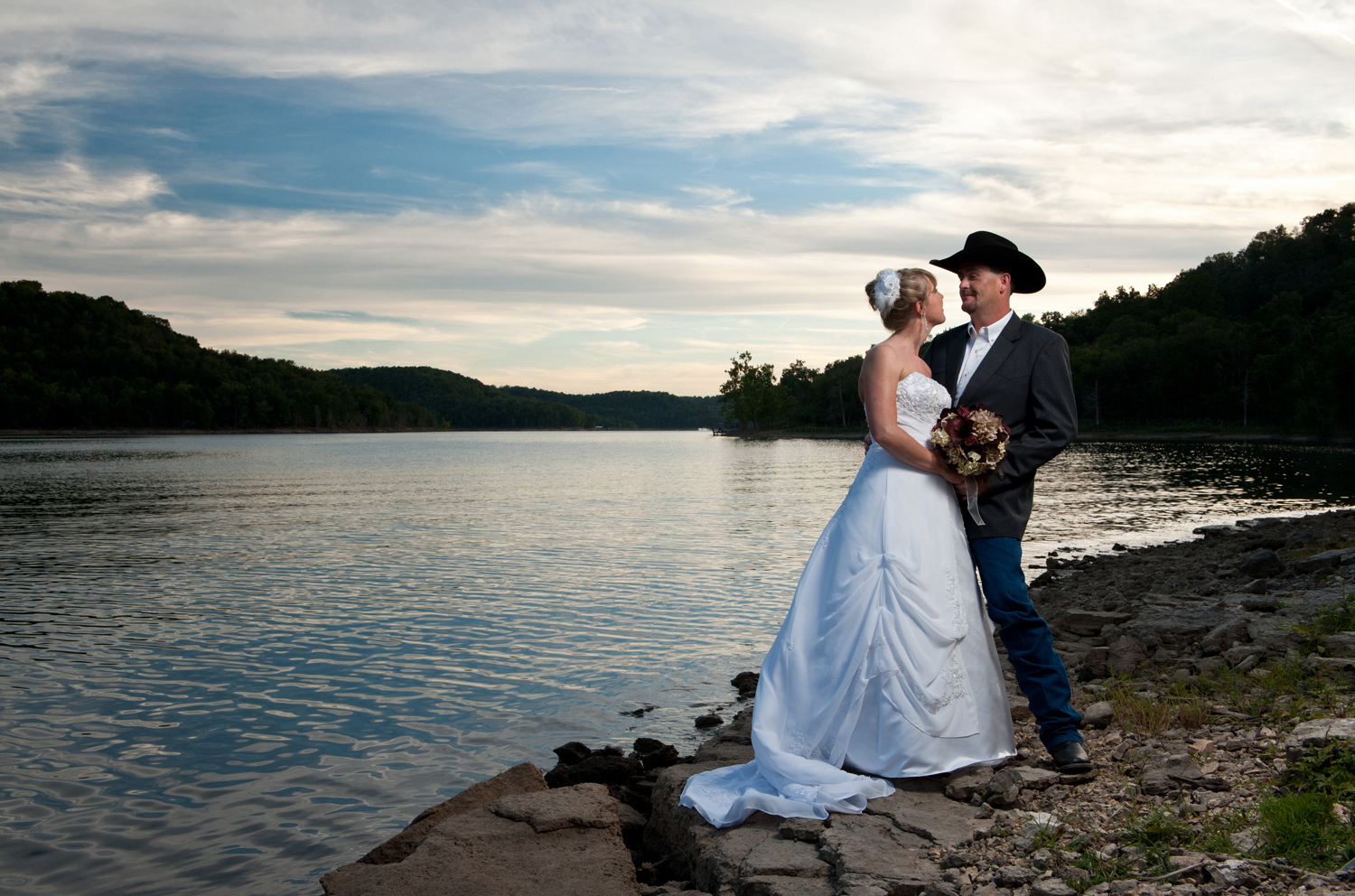 Bride and Groom, Sunset at Beaver Lake