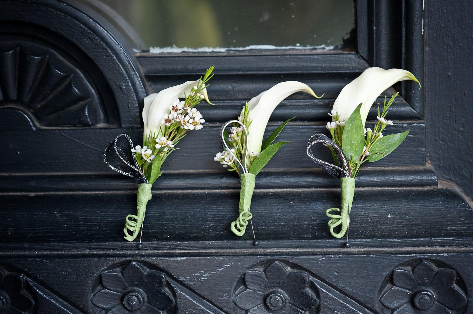 boutonnieres on antique door